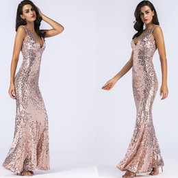 golden maxi dress 2019 - Women Evening Maxi Dress Sexy V neck Sleeveless Backless Sequin Golden Long Dress Summer Party Dress Vestidos robe femme