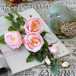 $enCountryForm.capitalKeyWord Australia - Beautiful 6heads French Artificial Flower Tea Rose Long Branch Fleur Artificielle Flores Wedding Fall Decorations Fake Flowers