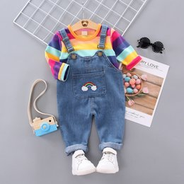 wholesale baby bibs kids UK - Fashion Toddler Kids Baby Girl Clothes Long Sleeve Rainbow T-shirt Tops+Suspender Trousers Set Bib Pant Overalls Clothes 0-4Y