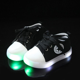 Baby Canvas Shoe Wholesale NZ - 2018 high quality cute canvas LED shoes for girls boys cool unisex Patch baby casual shoes hot sales lighting baby kids sneakers