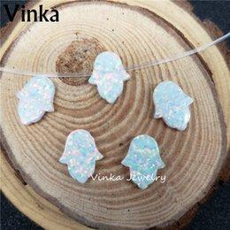 $enCountryForm.capitalKeyWord Australia - 10pcs lot Wholesale 11x13mm Opal Hamsa Pendant Charms Synthetic Hamsa & Hand Opal for DIY Jewelry Necklace