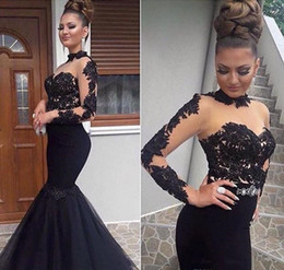 Girls Red Carpet Pageant Dresses Australia - High Neck Black Mermaid Evening Dresses 2019 Applique Beaded Sexy Black Girls Pageant Gowns Long Sleeve Lace Formal Prom Party Gowns E050
