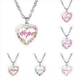 Hope Faith Love Pendant Australia - Inspirational Heart shape Necklaces For women Love Hope Dream Believe Faith Letter Glass Pendant chains 2019 Fashion Jewelry