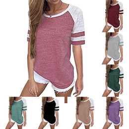 482cdfdde5 Women Casual contrast color T-shirt Summer Short Sleeve Loose Striped T  Shirts Round Neck Girls Tops tee Plus Size tshirts S-5xl sale B3123