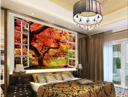 Plants Tree Painting Australia - wall papers home decor designers Fantasy red leaf tree 3D TV background wall decoration painting