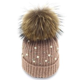 Hair Hat Warm Australia - 2019 new hot style fashion pearl wool hat autumn and winter warm frill hat han edition ladies raccoon hair knitting hat