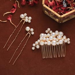 $enCountryForm.capitalKeyWord Australia - Exquisite Handmade Imitation Pearl Design Hair Comb Set Girls Charming Elegent Luxury Jewelry Hairpins Bride Accessories LB