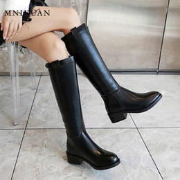 $enCountryForm.capitalKeyWord Australia - MNIXUAN fashion winter women high boots 2019 new round toe zipper medium heel block Knight boots belt buckle boot black