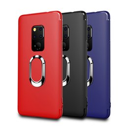ring holder phone case 2019 - New Soft Phone Case For Huawei Mate 20 Car Holder Stand Magnetic Suction Bracket Finger Ring Cover TPU Case For Mate 20