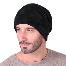 Discount balaclava knitting - Adult Winter Hat For Women Men Skullies Cap Knitted Beanies Cap Plaid Jacquard Skullies Solid Balaclava Bonnet Warmer