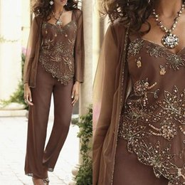Custom Color Suit Sequin Australia - Elegant Modern Sequin Bead Mother Of The Bride Pant Suits With Jackets Custom Made Wedding Guest Dress Plus Size Mothers Groom Dress BA9124