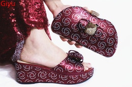 summer italian Australia - beautiful wine Italian Shoes With Matching Bags African Women Shoes and Bags Set For Prom Party Summer Sandal! KG1-23