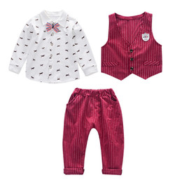 Summer Gentleman Cotton Sets Australia - 2019 New Spring Children Kid Tie Blazer Formal Cotton gentleman Casual Boy Suits Jackets T-Shirt Pants 3pcs sets Infant Clothes