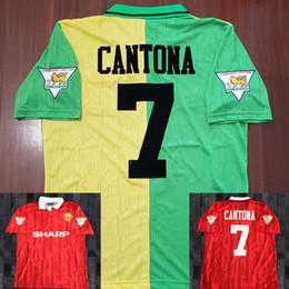 6f9114d00b1 Cantona 93 94 Man Beckham Soccer Jersey 1993 1994 Retro UTD Soccer jersey  Classic Football Shirt Giggs Home Red Away Green Maillot de Foot