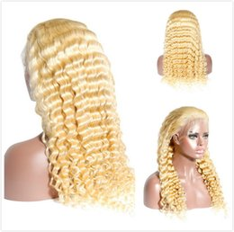 Deep Curly Indian Lace Wig Australia - Original Curly Human Hair Braided Wig Blond Indian Deep Wave Lace Front Wigs Natural Hairline 613 Honey Blonde Full Lace Wig For Black Women