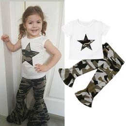$enCountryForm.capitalKeyWord Australia - Toddler Kids Baby Girls Cotton Tops T-shirt Camo Pants Leggings Clothes Outfits