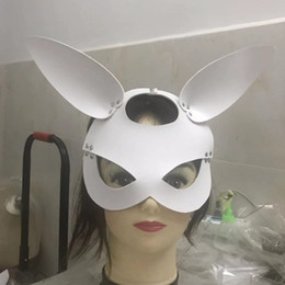 christmas catsuit Canada - Leather Bunny Mask Rubber Hood Rabbit women mask for Catsuit Party Wear Costumes factory supplier Fetish hood Mask on sale