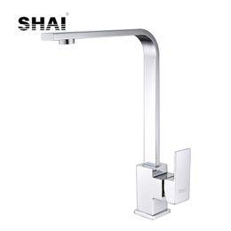 $enCountryForm.capitalKeyWord Australia - SHAI Flat Spout Kitchen Faucet 360Degree Rotation Single Handle Hot & Cold Water Mixed Tap Chrome Polish Brushed Finish SH3209