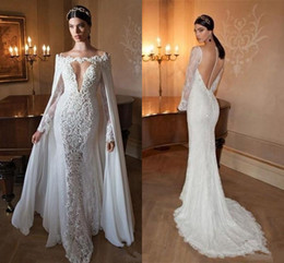 Train shawl wedding dress online shopping - Berta Sexy Mermaid Wedding Dresses with Capes Sleeve Detachable Shawl Chiffon Cape V neck Long Sleeve Sheer Back Lace Bridal Gown