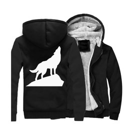 Long Hip Hop Style Winter Jacket NZ - 2019 New Style Wolf Hoodies Long Sleeve Black Warm Fleece Animal Hooded Harajuku Sweatshirts Winter Jackets Hip Hop Zipper Cost