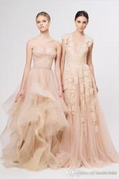 $enCountryForm.capitalKeyWord Australia - Blush Lace Beach Garden Wedding Dresses Sexy Deep V neck Cap Sleeve Layered Lace Long Bridal Gowns