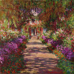 art reproductions canvas NZ - High quality Claude Monet oil paintings A Pathway in Garden art reproduction 100% Hand painted Canvas artwork famous picture for wall decor