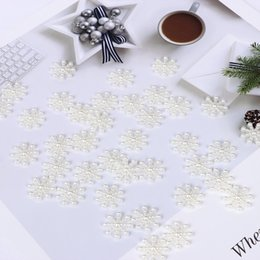 craft embellishment wholesale Australia - 100Pcs Snowflake Artificial Flatback Pearl Pretty Embellishments Christmas Card Making DIY Craft Cardmaking Decor Decoration