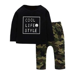 $enCountryForm.capitalKeyWord UK - wholesale-Camo Printed Baby Clothes Set 2pcs set Boys Girls Letter Print Tees Long Sleeve Tops Kids Pants Clothing For 4-7Years Children