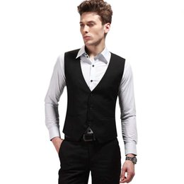 satin cut out wedding dresses Canada - New Fashion Men's Solid Vest Formal Dress Business Casual Slim Suit Vest Wedding Vest British Style Waistcoat Man Clothing