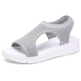 Chinese  Summer Women Sandals Plus size 35-45 Wedge Breathable Mesh Shoes Female Peep Toe Ladies Solid Slip-on Comfortable Shoes Ladies manufacturers