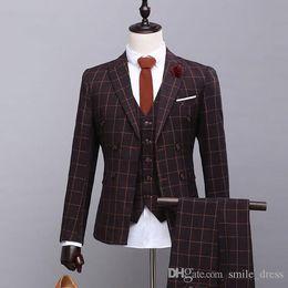 Three Piece Suits Slim Australia - High quality Men Suits 3 Pieces Slim Fit Peaked Lapel Groomsmen Back Vent Wedding Best Man Suit Tuxedos (Jacket+Vest+Pants)