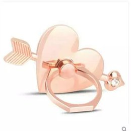 Cell Phone Bands Australia - Silver Gold Rose Gold Colors Heart Love Design Cell Phone Holder Arm Band Metal Ring Stand Mobile Phone Holder for iPhone Universal
