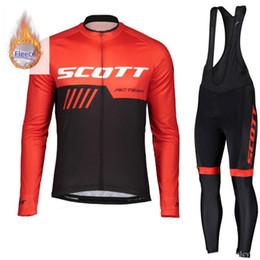Scott Bike Bibs UK - 2019 winter cycling clothing Set SCOTT men thermal fleece MTB bike jersey long sleeve shirts bib Pants suit Road bicycle clothing