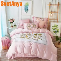 King Size Butterfly Bedding Sets Australia - Svetanya Artificial Silk Bedding Set Butterfly Print Bedlinen Queen Double King Size Bedsheet Pillowcase Duvet Cover Sets Pink