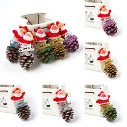 novelty candle light NZ - Novelty Christmas Tree Santa Claus Pine Cone Pinecone Hanging Decoration Decor Christmas Decorations
