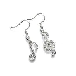Earrings notEs musical online shopping - 2019 New Fashion Zinc Alloy Aasymmetric Rhinestone Musical Notes Geometric Earrings For Women E2000
