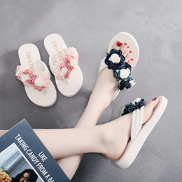 flat fabric shoes wholesale UK - 6 Cm High Heel Women's Summer Cloth Tape Slope with Herringbone Ladies Sandals Muffin Slippers Slippers Camellia Flowers Shoes