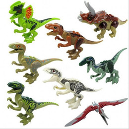 building toys pieces NZ - 8 Pieces Assemble Building Blocks Jurassic Park Dinosaur World Pterosaurs Triceratops Models Toys for Children Compatible Legoing friends