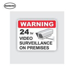 commercio all'ingrosso 20pcs / lot Car Styling Car Sticker 24 ore di sicurezza di sorveglianza del video Sticker Outdoor Business durevole Iscriviti impermeabile 13 cm x 12 cm in Offerta