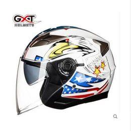 Half Face Helmets Australia - Summer New GXT Double Lens Motorcycle Helmets Half Face Motorbike Helmet electric safety helmet for women men Moto Casque