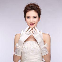 White Wedding Dresses Gloves Australia - Wholesale bride wedding dresses decorated gloves all fingers on satin stitch beads white gloves factory direct specials