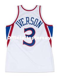 Vente en gros Allen Iverson # 3 Cousu Mitchell Ness Top 1996 Maison de haute qualité blanc Jersey Maillot Hommes Taille Top XS-6XL Maillots De Basketball Cousu
