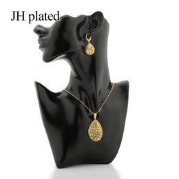 dubai gold pendant sets Australia - JHplated African Dubai New Fashion gold color jewelry sets women gifts wedding Pendant Necklace and Earrings sets best gift
