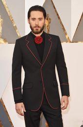Dark Green Tie Grey Suit Australia - New Design Black Groom Tuxedos Groomsmen Men's Wedding Prom Suits 2018 Fashion Men Red Caeprt Tuxedos (Jacket+Pants+Tie)