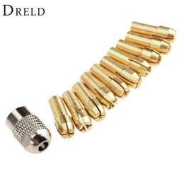 Rotary Power Drill Australia - drill chuck 10Pcs 0.5-3.2mm Brass Collet Mini Drill Chucks 4.8mm Shank for Dremel Rotary Tools+Mill Shaft Screw Cap Power Tool Accessories