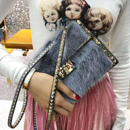 Hair Fur Australia - 2019 New Winter fur bag genuine leather high class mink hair fur handbag rockstud rivet clutch OL ladies party Christmas gift no limite 21cm