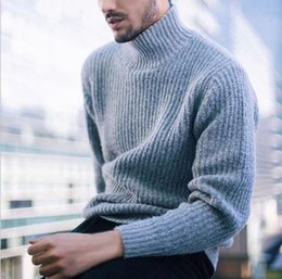 wine sleeves NZ - Men's Designer Sweater Spring Autumn High Neck Long Sleeve Solid Color Blue Black Wine Red Sweater