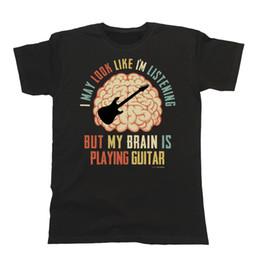 Hot Guitar Neck Australia - Mens Womens Guitarist T-Shirt My Brain Is Playing GUITAR Music Electric Christma Summer O Neck Tee, Free Shipping Cheap Tee,2019 Hot Tees