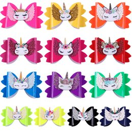 $enCountryForm.capitalKeyWord Australia - INS Unicorn Pu leather bows girls hair clips hair bows baby BB clips Cartoon kids barrettes designer hair clips baby accessories A8155