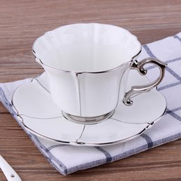 $enCountryForm.capitalKeyWord NZ - Korean Coffee Cup Hand-painted Ceramic Cups and Saucers Gift Coffee Cup with Silver Edge Family Bone China